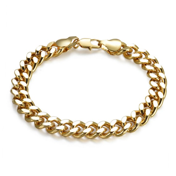 Gorgeous highly polished chain link 18ct Gold Filled unisex bracelet 7.2""