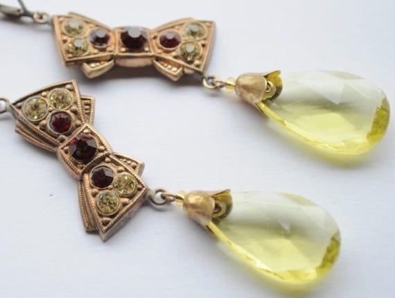 Vintage Old Czech Earrings Jewelry Art Nouveau Revival Bow Glass Handmade