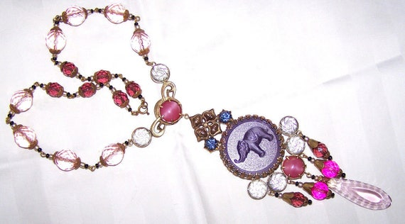 Lovely vintage 1930s Art Deco elephant necklace with large rhinestones and pink glass