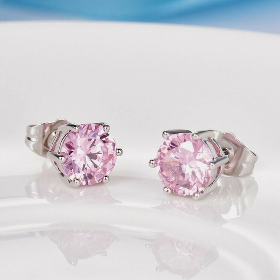 Lovely 18 ct white gold filled pink sapphire crystal stud earrings
