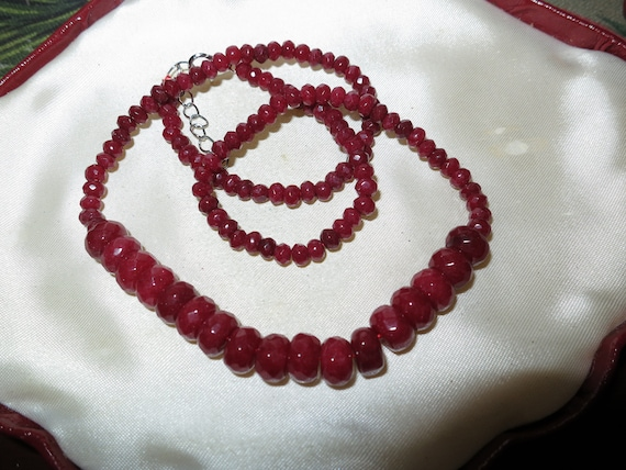 Lovely 2-8 mm faceted natural dark ruby necklace 18""