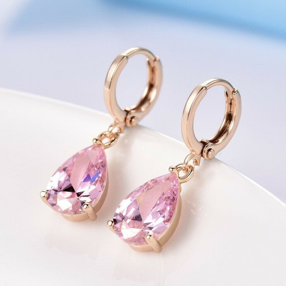 Lovely 18 ct yellow gold filled pink crystal drop earrings