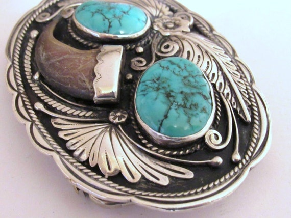 Michael Perry Native American Sterling Silver Turquoise  Belt Buckle