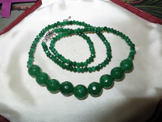 Attractive 4-10 mm faceted  natural raw emerald necklace 18 inches