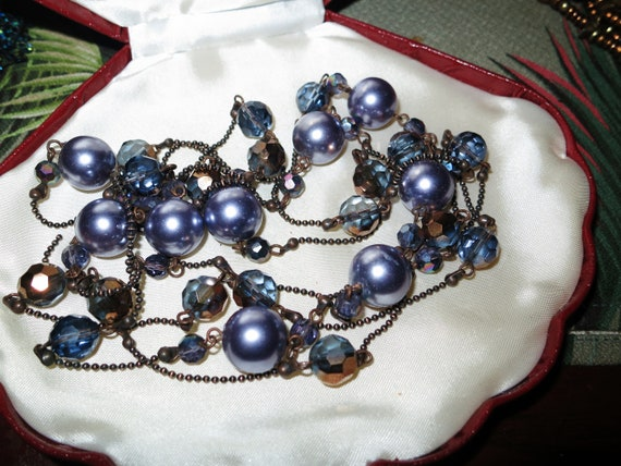 Lovely vintage long flapper necklace with purple glass pearls and AB beads 60""