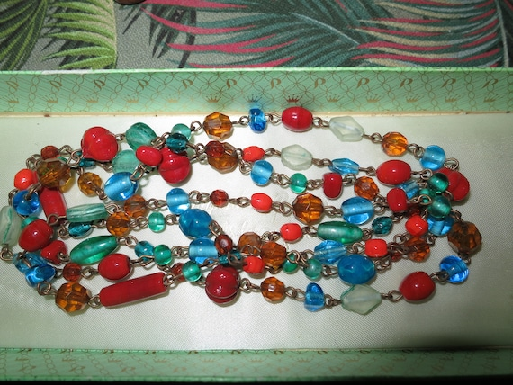 """Wonderful vintage wired colourful art glass  flapper necklace 50"""""""