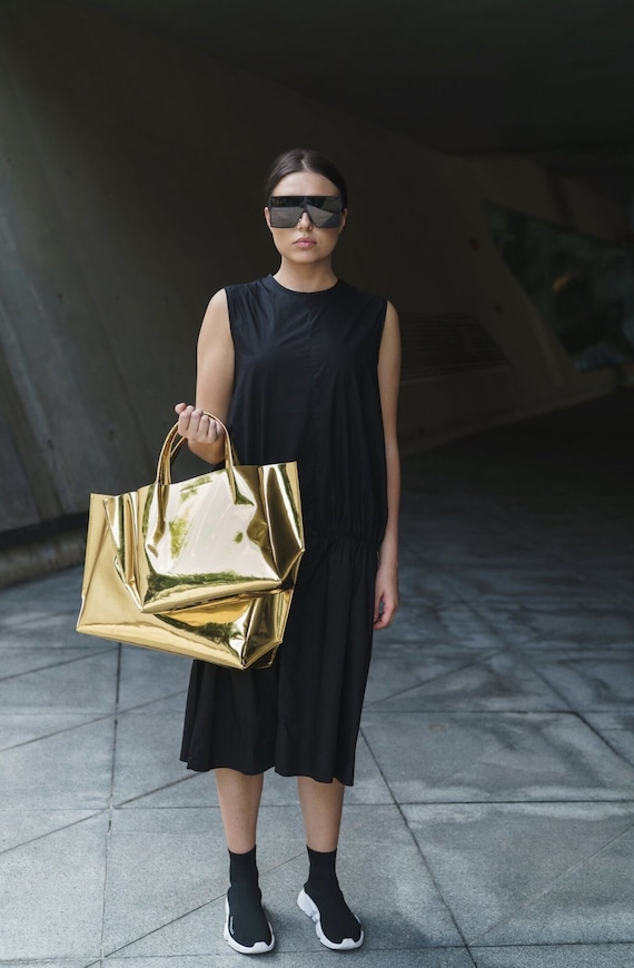 Ampersand as Apostrophe Half Tote with Pouch in Gold mirror leather BNWT