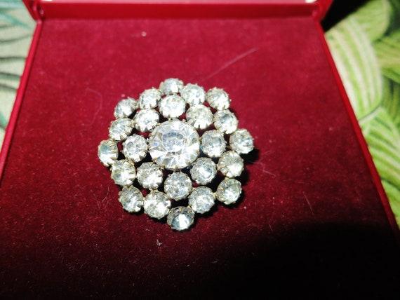 Vintage Edwardian goldtone glass diamante  brooch