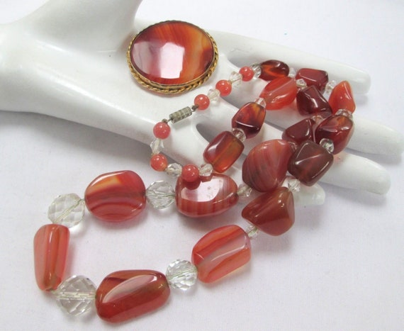 Good vintage carnelian & crystal bead necklace and gold metal  carnelian brooch or pendant