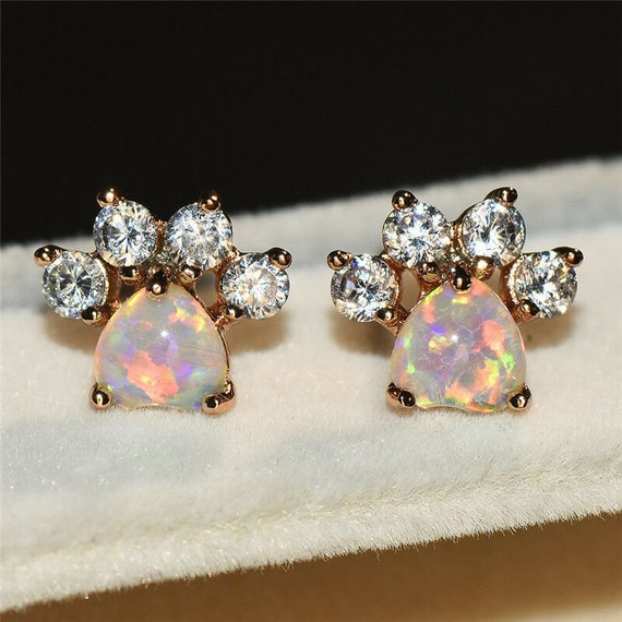 Lovely 18ct rose gold filled  white fire opal glass cat or dog paw footprint stud earrings
