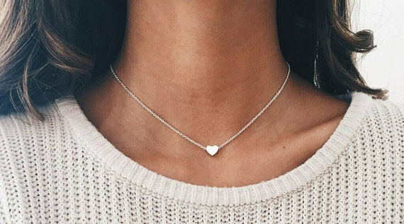 Elegant 18 ct gold plated small gold heart necklace