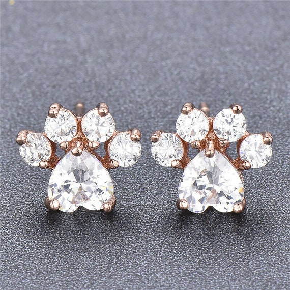 Lovely 18ct rose gold filled crystal glass cat or dog paw footprint stud earrings