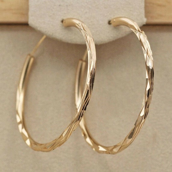 Fabulous pair of 18  ct gold filled etched or hammered hoop earrings