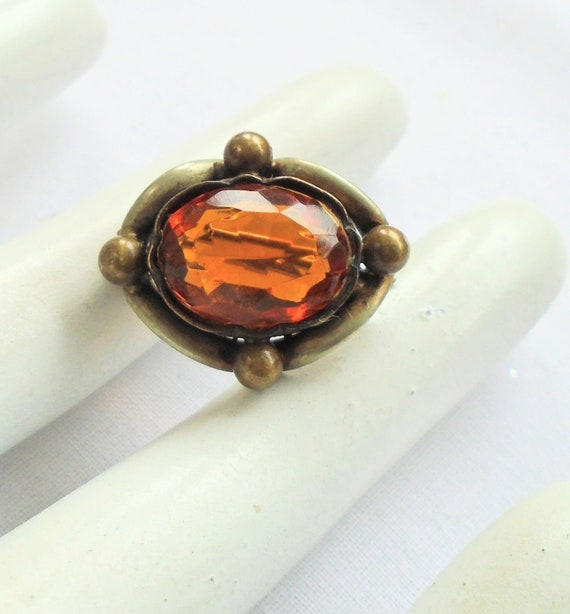 Beautiful antique Victorian gold metal and amber glass brooch
