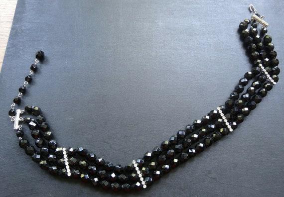 Vintage 3 strand clear rhinestone french jet black glass choker necklace