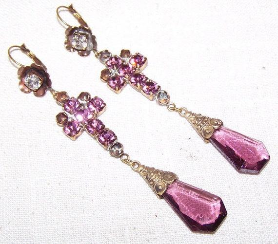 Beautiful Czech vintage 1940s Art Deco purple glass Cross dropper  earrings