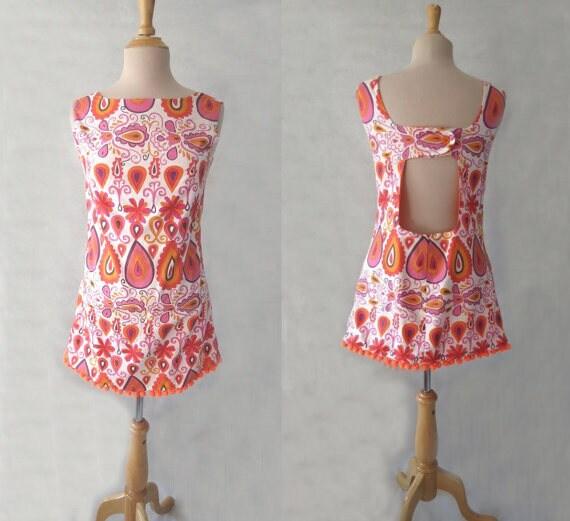Gorgeous handmade retro cotton pom pom beach dress size S