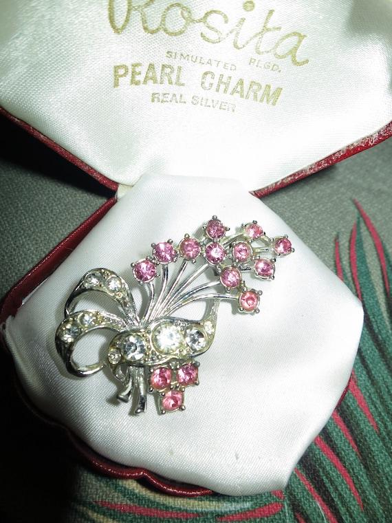 Wonderful vintage silver metal pink  rhinestone floral spray brooch