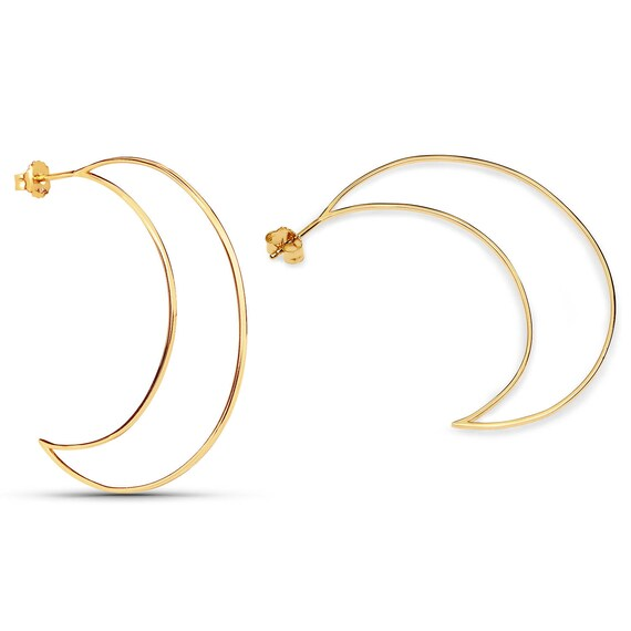 "Lovely new 14ct gold  ""Bewitched"" moon shaped large crescent earrings"