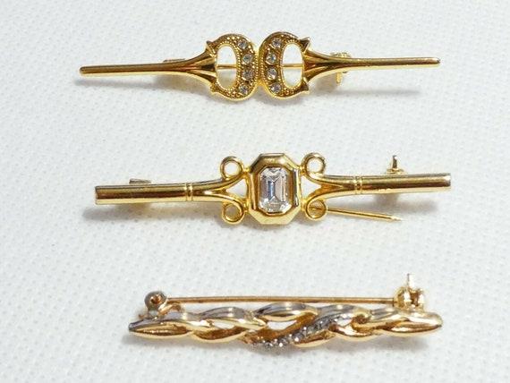 3 Fabulous classic Vintage goldtone   rhinestone bar  brooches