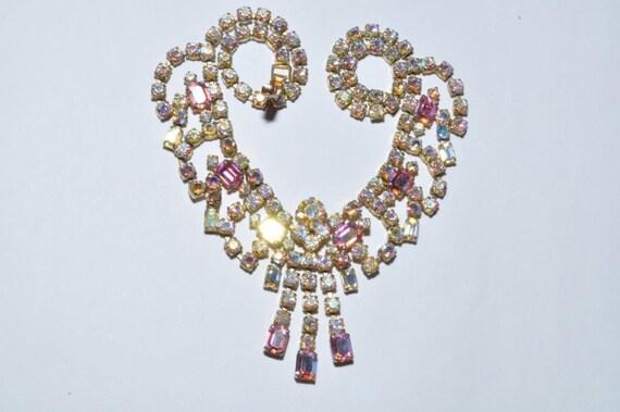 Lovely vintage sparkling aurora borealis rhinestone dropper necklace
