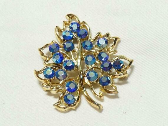 Pretty Goldtone Blue/Gold/Green Aurora Borealis Rhinestone Floral brooch