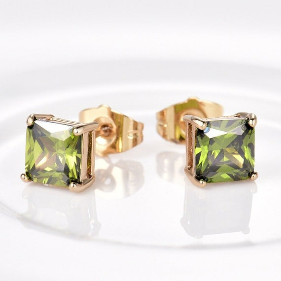 Lovely 18ct yellow gold filled green peridot sapphire 9mm crystal stud earrings August birthstone