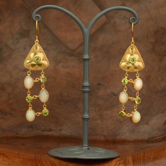 Stunning 24ct Gold Vermeil Peridot & AustralIan Opal  drop earrings