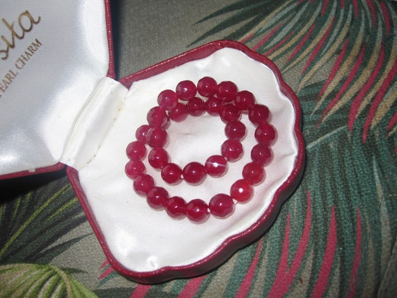 Lovely Natural Faceted 6mm natural ruby stretch bracelet