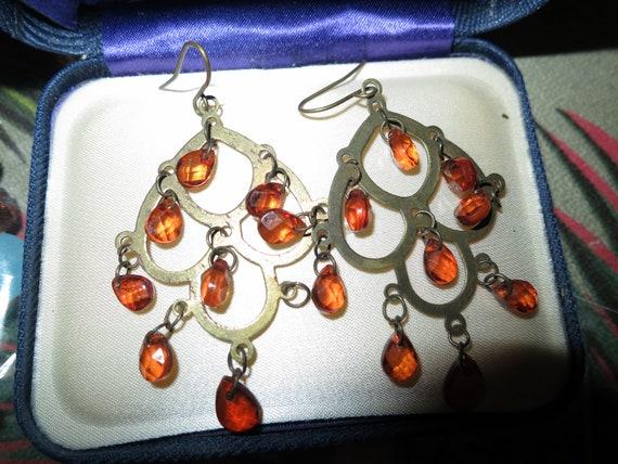 Fabulous pair of vintage goldtone amber dropper earrings