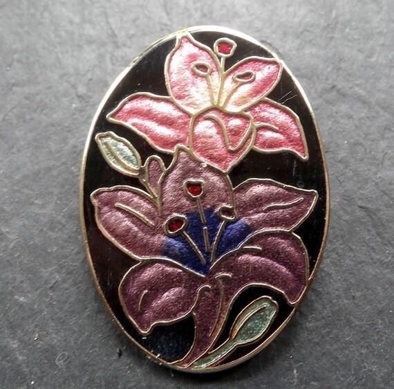 Lovely vintage gold metal cloisonne orchid flower brooch signed Fish