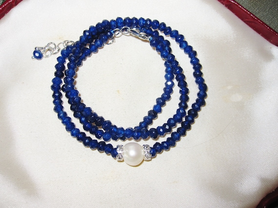 """Lovely Natural Faceted 4mm blue sapphire and 10mm freshwater pearl necklace 18-20"""""""