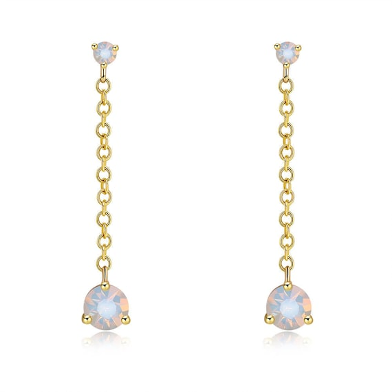 Lovely 18ct gold filled opal glass rhinestone drop stud earrings