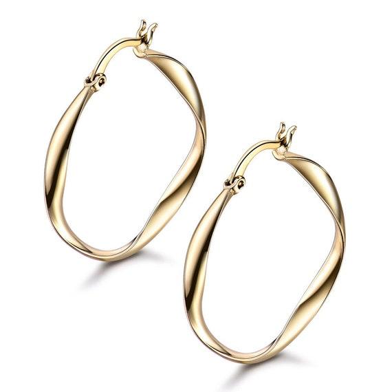 Beautiful 18 yellow gold filled twist hoop earrings for pierced ears