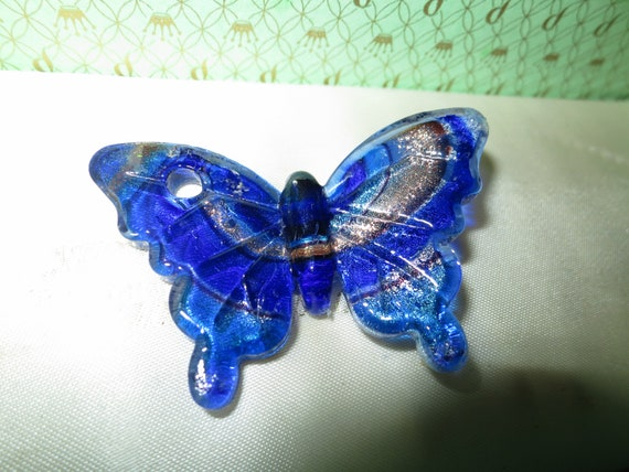 Lovely vintage Murano dichroic glass butterfly pendant for necklace