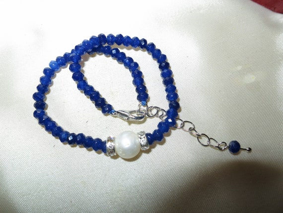Lovely Natural Faceted 4mm natural sapphire and 10mm freshwater pearl bracelet 8-10""