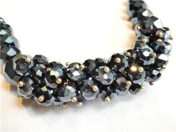Wonderful vintage charcoal aurora borealis Cluster Crystal Beaded necklace