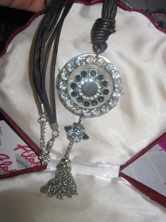 Fabulous Vintage leather cord sparkly rhinestone tassel pendant necklace