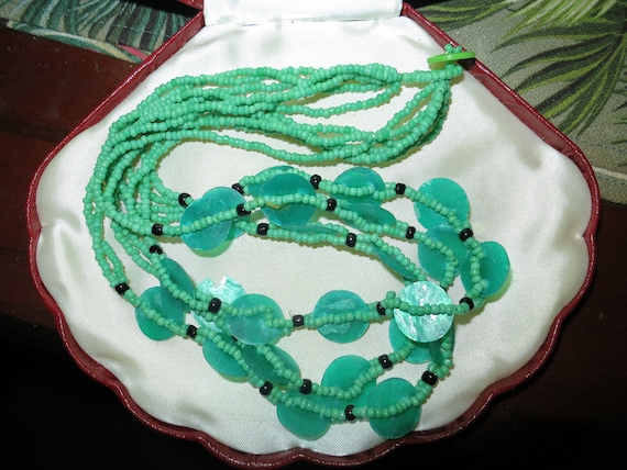 Fabulous vintage multi strand green dyed mother of pearl necklace
