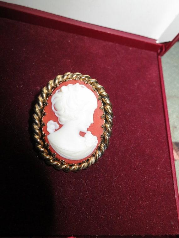Delightful vintage goldtone resin cameo brooch