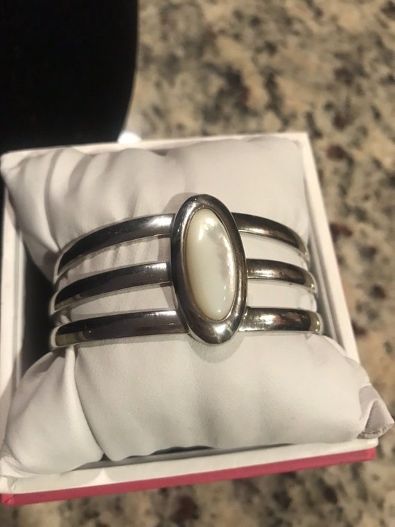 Michael Perry Native American Sterling Silver mother of pearl cuff bangle bracelet