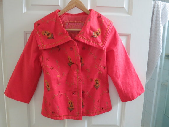 Stunning Paul Ropp bright 3/4 sleeve embroidered jacket size 2 US6 Aust 8