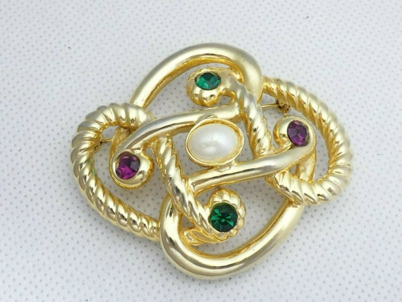 Pretty vintage  Large Rope  Effect Multi-Coloured Crystal Abstract brooch