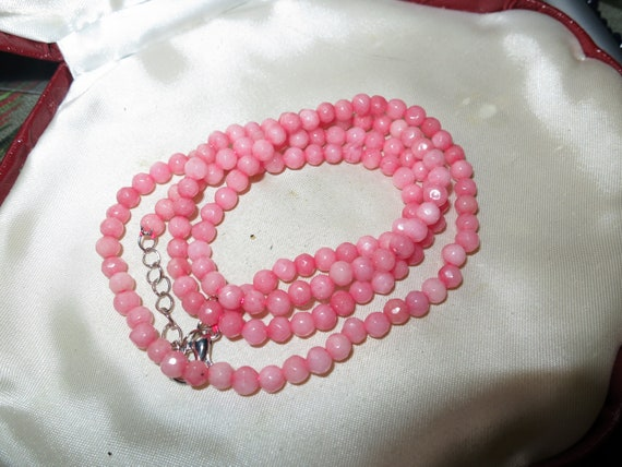 Lovely 4mm faceted natural Rhodochrosite necklace 20""