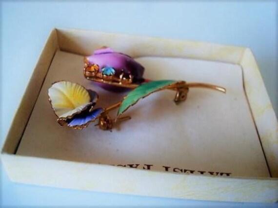 Vintage Purple Yellow Flowers Pin Brooch Multi Color Rhinestones
