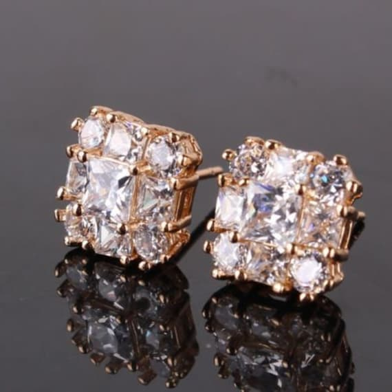 Lovely 18ct yellow gold filled clear sapphire crystal stud earrings