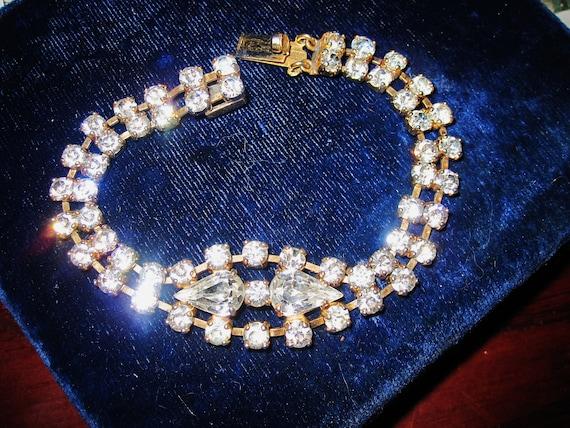 "Gorgeous vintage goldtone sparkly foil back rhinestone bracelet 7.5"""