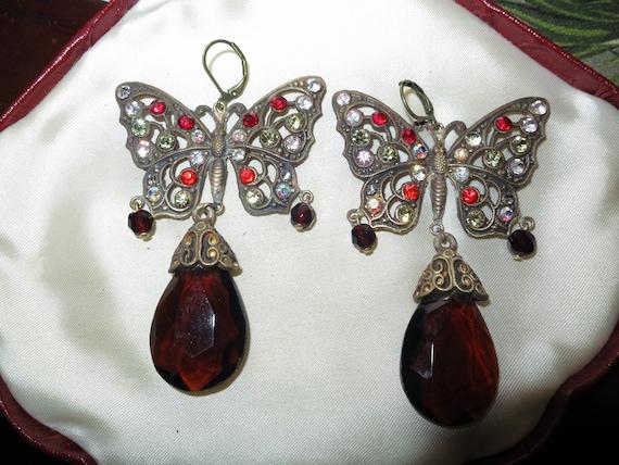 Vintage Czech Art Deco topaz glass dropper earrings butterfly design