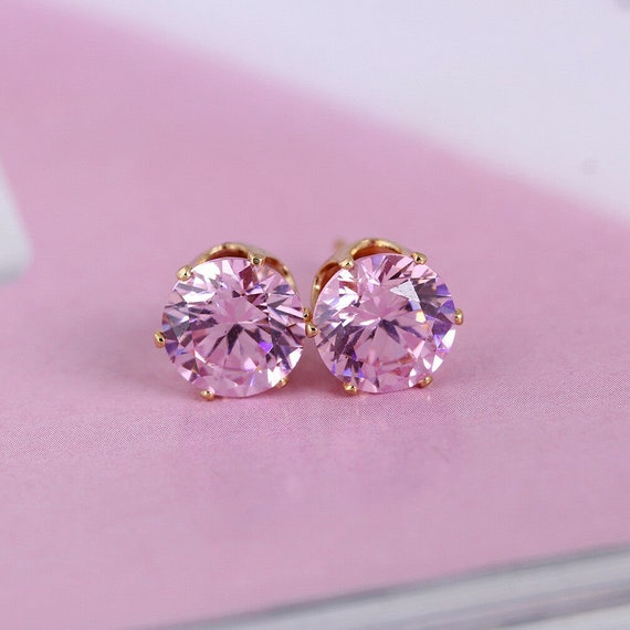 Beautiful 18 ct yellow gold filled 8 mm pink topaz rystal stud earrings