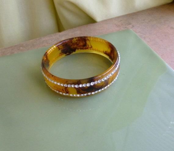 Beautiful vintage 1940s Art Deco fx tortoise shell rhinestone arm bracelet bangle